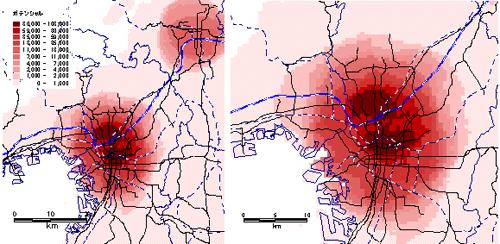 図 関西圏におけるMP指標の分布